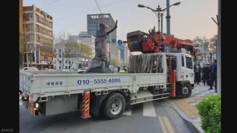 徴用工を象徴する像 韓国 プサン市が強制撤去