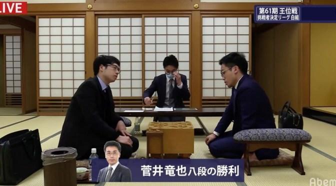 菅井竜也八段が阿部健治郎七段を破り3勝0敗に 第61期王位戦挑戦者決定リーグ 白組