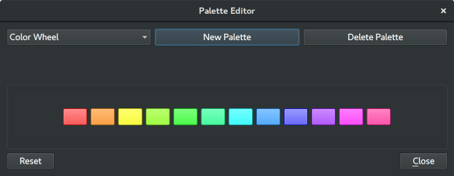Dialog window for editing Palettes