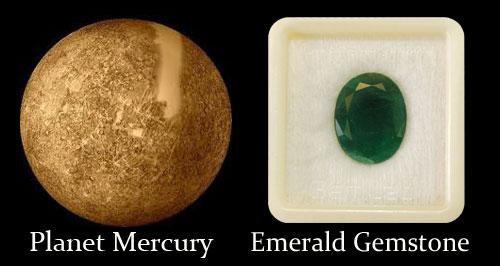 Planet Mercury And Emerald Gemstone