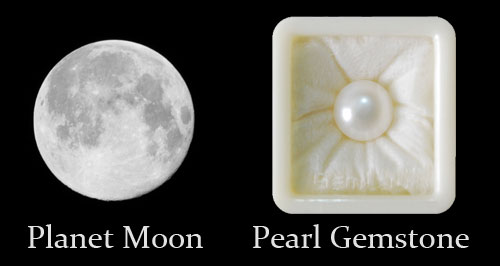 Planet Moon And Pearl Gemstone