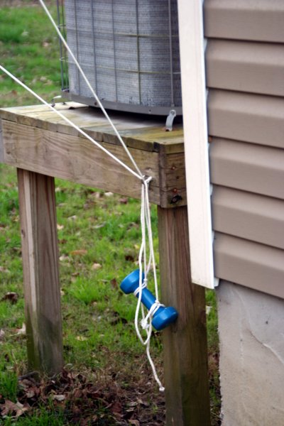 Weights holding down the antenna rope