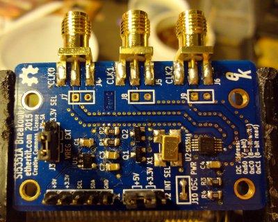 Header pins and SMA connectors
