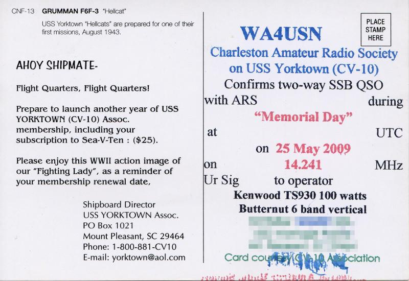 WA4USN QSL Card (Back)