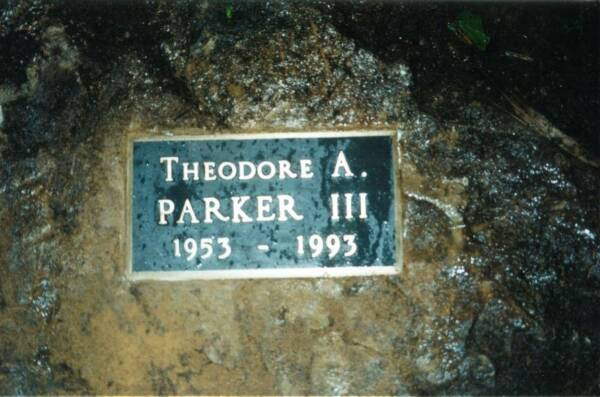 plaque placed by Carol Walton at the crash site on February 14, 1995  (photo by Carol Walton)