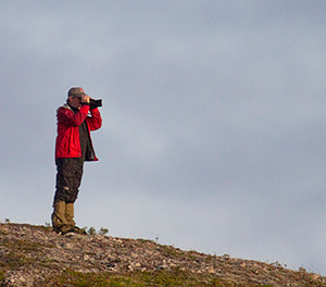 Neil Hayward working the slopes of St. Paul Island, AK, in late September. Photo by Greg Neise.