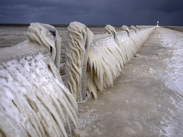 While most would consider this a portal to a frozen wasteland from which they may never emerge, serious birders see an opportunity to get a few hundred meters closer to birds out on the open water beyond the ice edge on Lake Erie.  Pt. Charlotte, NY, Dec. 2009.