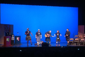 Kilted birders take the stage at last week's Rio Grande festival (note ABA prez Jeff Gordon, far right).