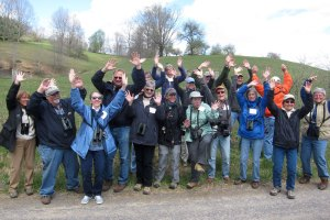 "Birders at West Virginia's New River Birding and Nature Festival do the ""lifer dance"" to celebrate the day's haul."