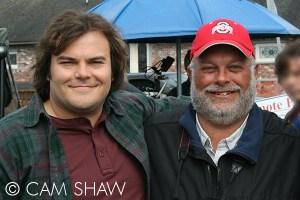 """Greg Miller (right) on the set of """"The Big Year"""" with Jack Black."""