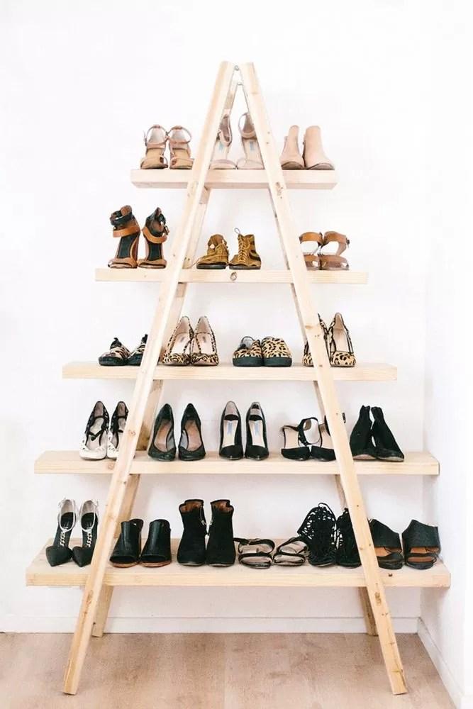 półka na buty, półka-drabina, ciekawe meble, DIY