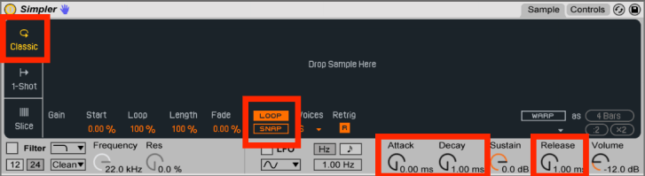 These are the settings you need to set for Ableton Lives Simpler for looping