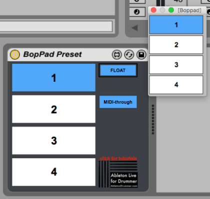 Free Max for Live device BopPad Preset Ableton Live