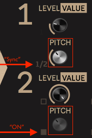 Sync layer 1 and layer 2 of the korg volca drum