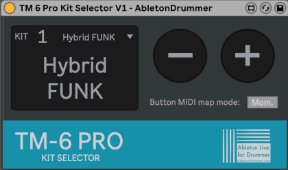 Select kits on TM-6 PRO from within Ableton Live