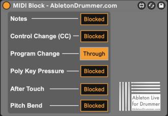 block Midi messages