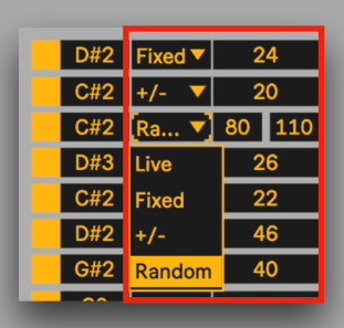 Select different velocity values for chords to be triggered in Ableton Live.