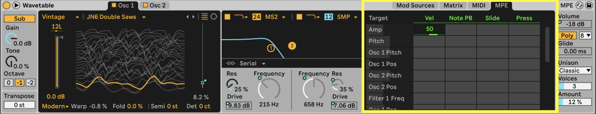 MPE with Ableton Live MIDI