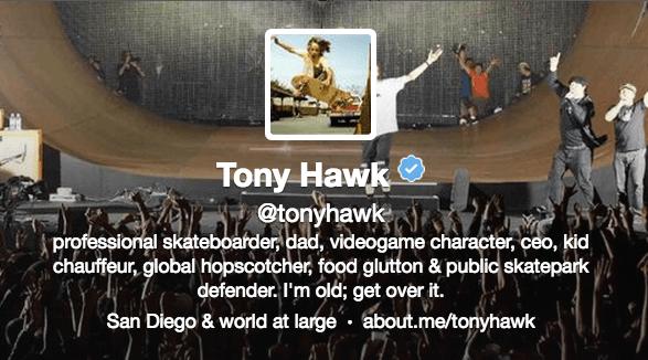 Tony Hawk w about.me on Twitter