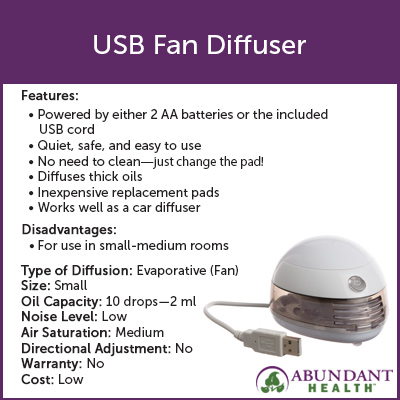 Portable USB Fan Diffuser Info Graphic