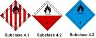 Clasificación NFPA - Subclase 4.1 /4.2 /4.3 Sólidos Inflamables