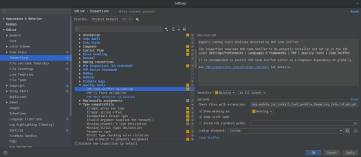 PhpStorm PHP Inspections settings