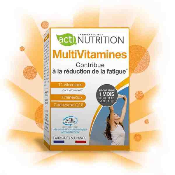 MultiVitamines d'Actinutrition est riche de 11 vitamines et 7 minéraux pour être votre partenaire anti-fatigue idéal.