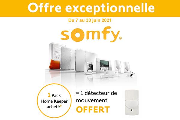 Jusqu'au 30 juin pour l'achat d'un pack Somfy Home Keeper = 1 détecteur de mouvement offert !