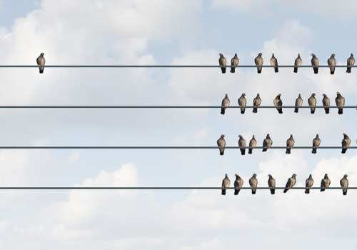 cloudy background with birds on a phone wire