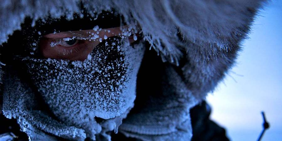 Polar explorer Ben Saunders covered in ice and snow