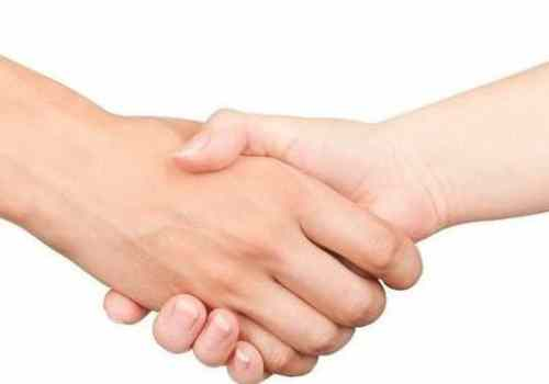handshake men and women on an isolated white background