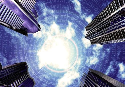 Futuristic building with binary numbers spherical grid and sky background. Great image to illustrate the concept of future business life--Gartner CPM