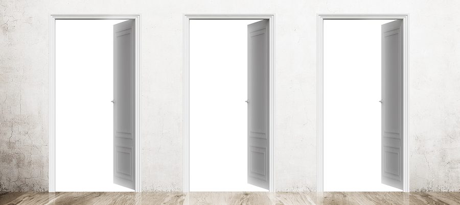 Three doors. All open in concrete wall with wood floor. Concept of decisions and alternative ways to success. Mock up. 3d rendering--cloud