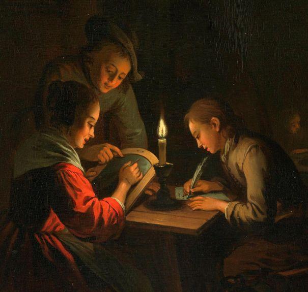 Drieluik met allegorie op het kunstonderwijs, Willem Joseph Laquy, ca. 1770 - Rijksmuseum