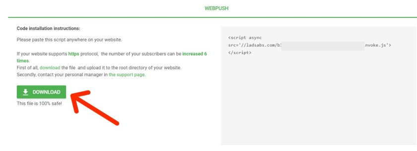 Add Web Push code to your website