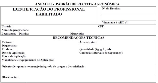 Detalhe de parte do receituário agronômico padrão do Rio Grande do Sul