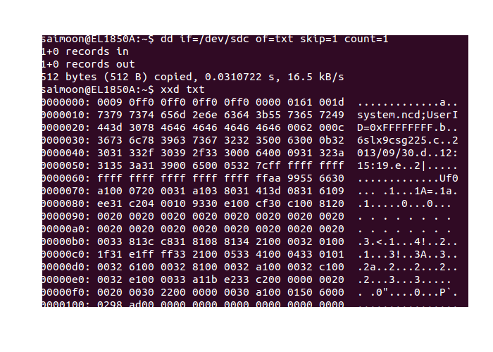 Hex dump from beginning of bitstream file.
