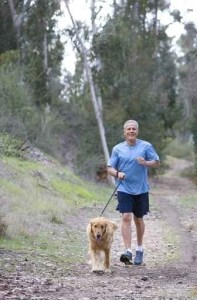 Active senior man, in blue t-shirt and shorts, walking golden retriever along woodland path, smiling, front view, portrait