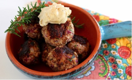 Steps to make vegetarian meatballs, Mediterranean inspired