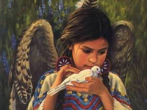 native american girl with dove