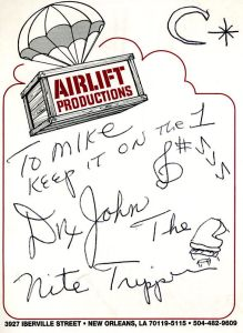 Dr. John Autograph to Airlift Mike on old Airlift Iberville Street Notepad