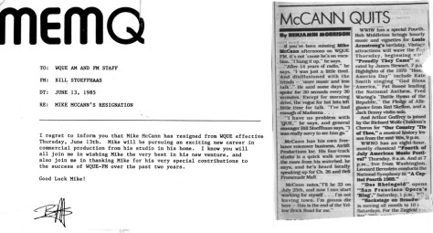Q-93 Memo to Staff & Times-Picayune article about Mike McCann's exit