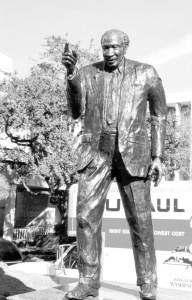 """Statue of """"The Rev"""", at the new UMC Medical facility"""