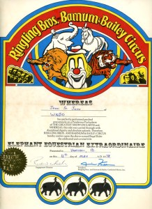 """Airlift Mike (as John Saint John) personal certificate proclaiming him an """"Elephant Equestrian Extraordinaire"""" in the Greatest Show on Earth"""