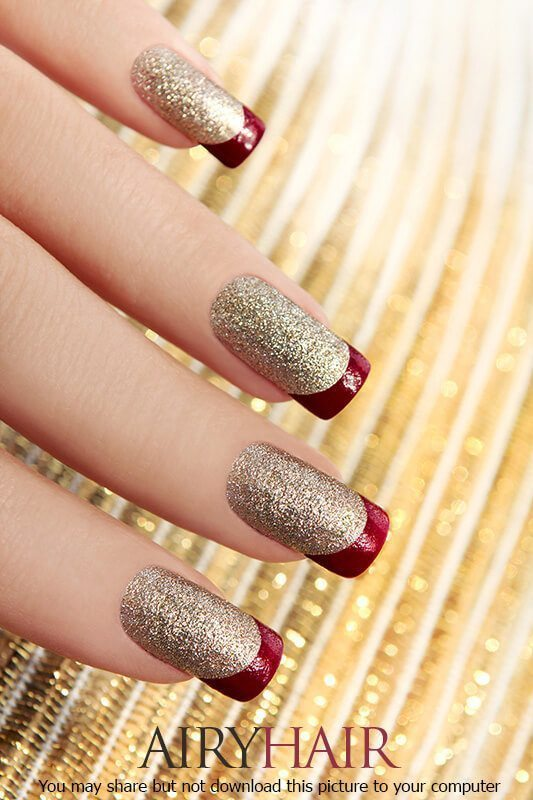 Stunning Red And Golden Nail Art Designs Image