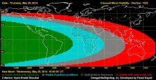 Crescent Visibility Curve of the month of Sha'ban 1435 AH for the evening of May 29th, 2014. Only South America and part of central America would be able to see the crescent easily.