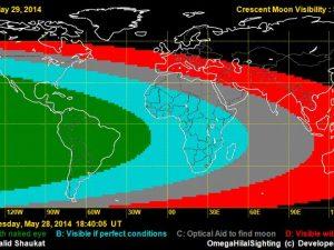 Crescent Visibility Map for Sha'ban 1435 AH