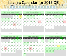 Screenshot of PDF version of the Islamic Calendar for 2015.