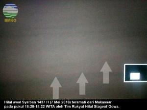 Foto-foto Bulan Sabit (Hilal) Sya'ban 1437 H