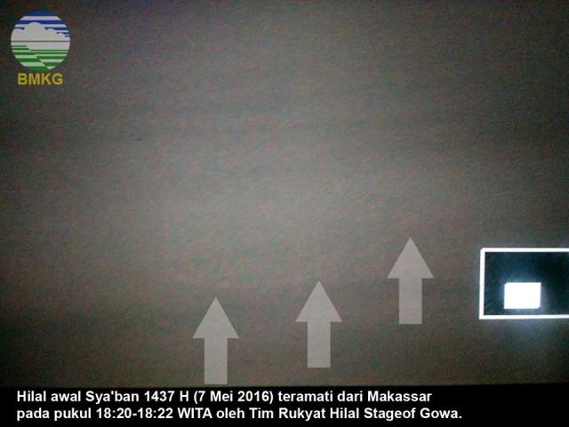 Foto hilal Sya'ban 1437 H terlihat melalui teleskop dan dipotret oleh tim Stasiun Geofisika BMKG Gowa, Sulawesi pada Sabtu, 7 Mei 2016 sekitar pukul 18:20